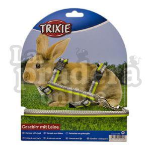Arnés y correa tricolor para conejo