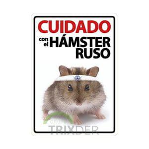Cartel 'Cuidado con el Hámster Ruso'